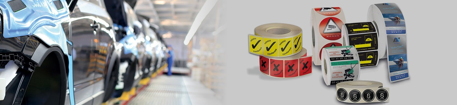 Etiquettes industries personnalisées en ligne adhésive autocollante