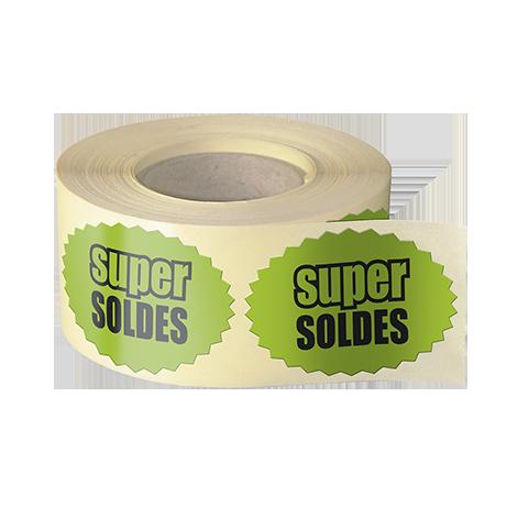 Etiquettes boutiques papier fluo vert adhésive autocollante