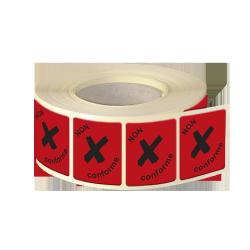 Etiquettes industries papier fluo rouge adhésive autocollante
