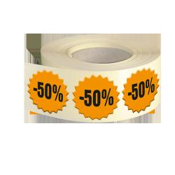 Etiquettes boutiques papier fluo orange adhésive autocollante