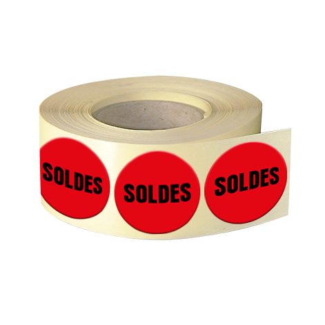 Etiquettes boutiques papier fluo rouge adhésive autocollante