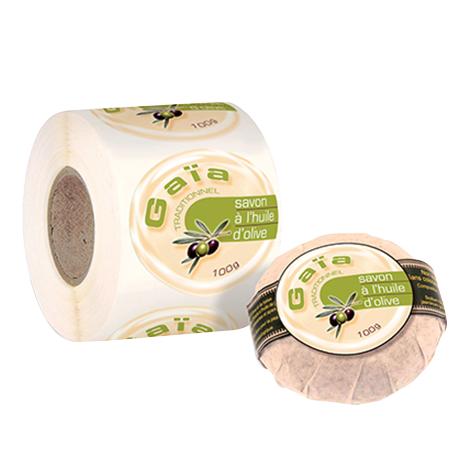 Etiquettes cosmétiques papier canne fibre adhésive autocollante