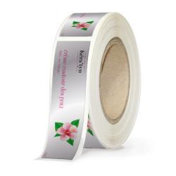 Etiquettes cosmétiques papier alu brillant quadri sans blanc adhésive autocollante