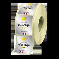 Etiquettes agroalimentaires papier alu brillant quadri avec blanc adhésive autocollante