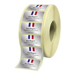 Etiquettes boutiques papier alu brillant quadri sans blanc adhésive autocollante