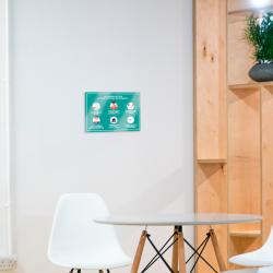 """Panneaux A4 polyester blanc laminé """"les bons gestes"""" adhésive autocollante"""