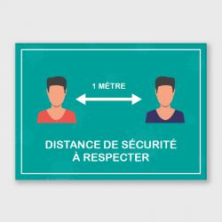 """Etiquette adhésive autocollante - Panneaux A4 polyester blanc laminé """"distance de sécurité"""""""