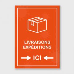 """Etiquette adhésive autocollante - Panneaux A3 polyester blanc laminé """"livraisons-expéditions"""""""