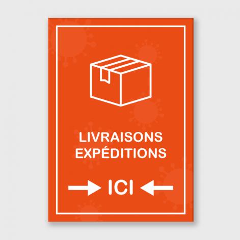 """Panneaux A3 polyester blanc laminé """"livraisons-expéditions"""" adhésive autocollante"""