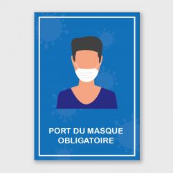 """Etiquette adhésive autocollante - Panneaux A3 polyester blanc laminé """"masque obligatoire"""""""