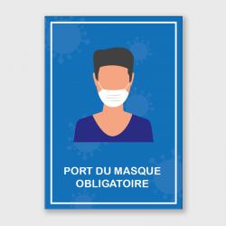 """Etiquette adhésive autocollante - Panneaux A4 polyester blanc laminé """"masque obligatoire"""""""