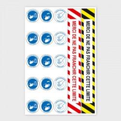 """Etiquette adhésive autocollante - Planches adhésives A3+ polypro. enlevable """"mesures barrières"""""""